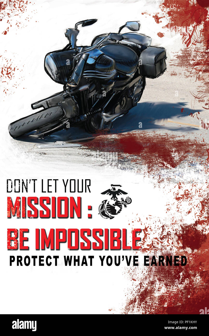 U.S. Marines from 1st Marine Division Combat Camera created posters to support the Commandant of the Marine Corps Protect What You've Earned (PWYE) campaign. PWYE is a simple cognitive framework to remind every Marine about the Marines' personal behavior and individual actions, and to make sound personal decisions about them. - Stock Image