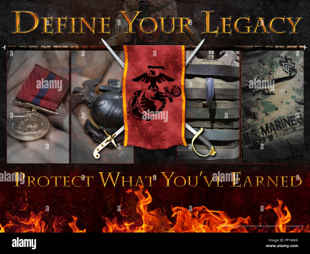Poster created to remind Marine Corps Combat Service Support School entry level Marines and permanent personnel to protect what they have earned. It is important to make informed and correct decisions. (U.S. Marine Corps Poster by CIV Sharon McPeak) - Stock Image