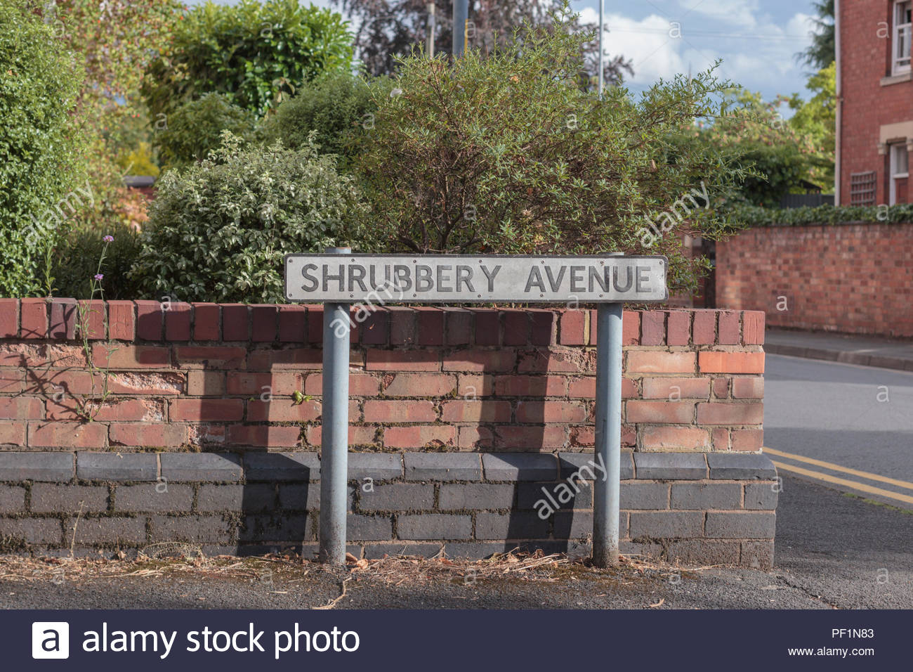 Shrubbery Avenue sign in the city Worcester, England. - Stock Image