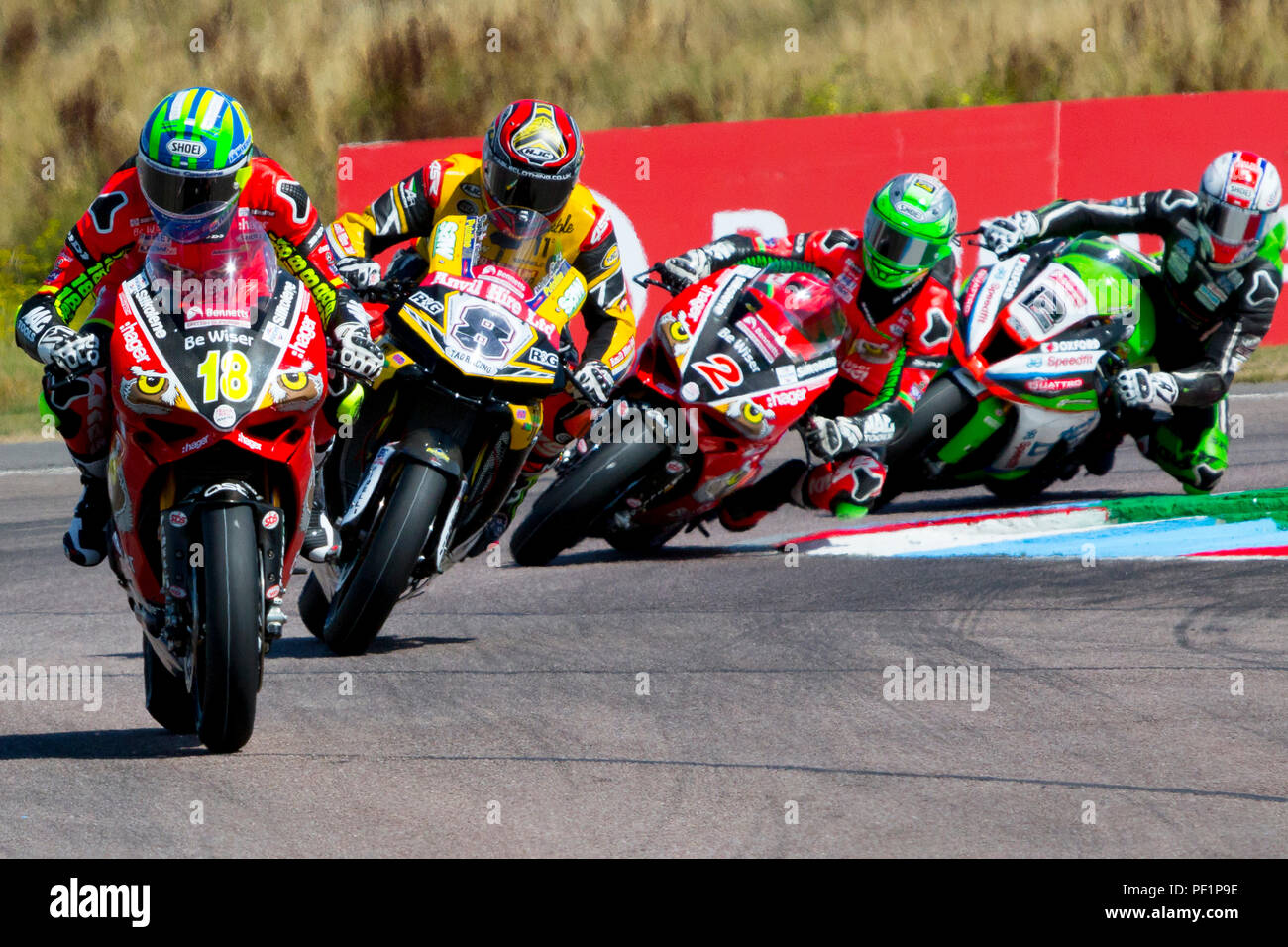 Andrew Irwin. Be Wise. Ducati. Shaun Winfield. Anvil Hire. TAG Yamaha. Glen Irwin. Be Wiser. Ducati. Luke Mossey. JG Speedfit Kawasaki.Bennetts, British Super Bike, Thruxton, Hampshire, UK,  2018. - Stock Image