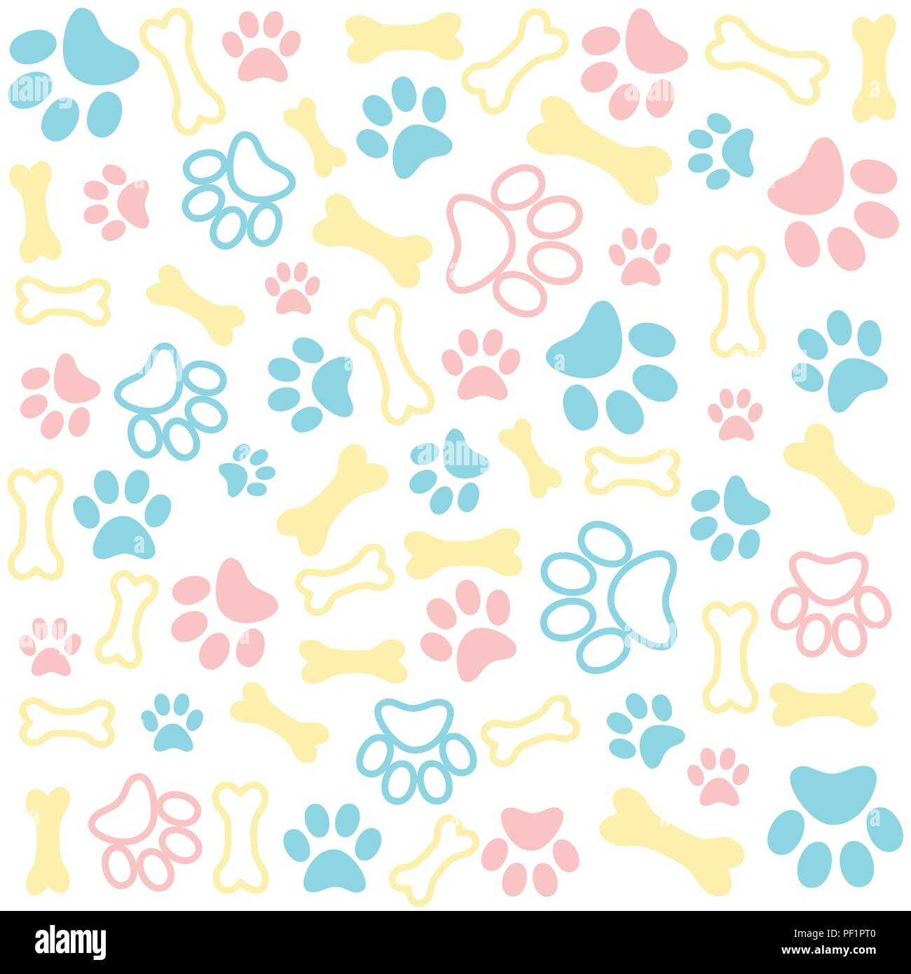 7bc9ccf8bfc4 Background with dog paw print and bone Stock Vector Art ...
