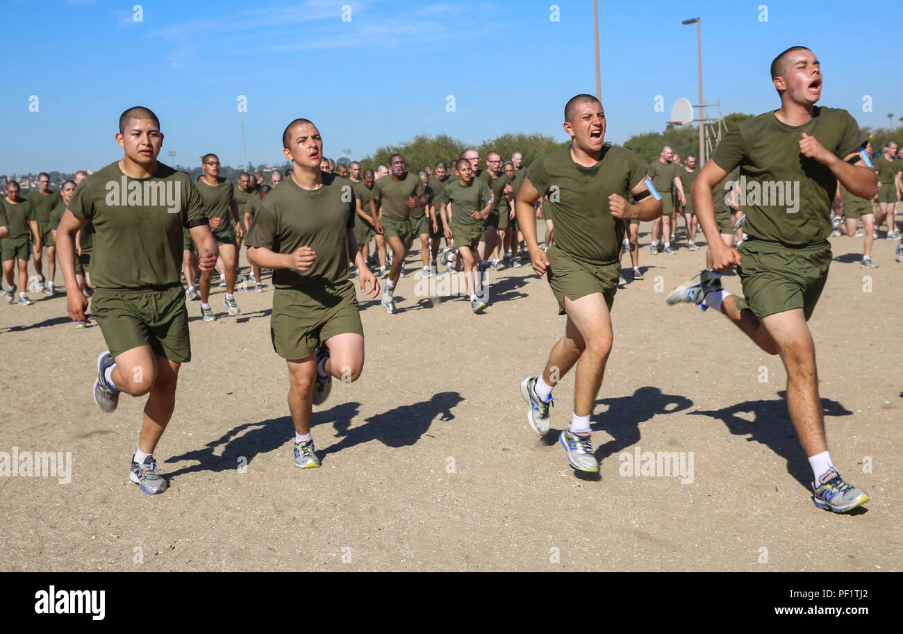Recruits of Kilo Company, 3rd Recruit Training Battalion, conduct