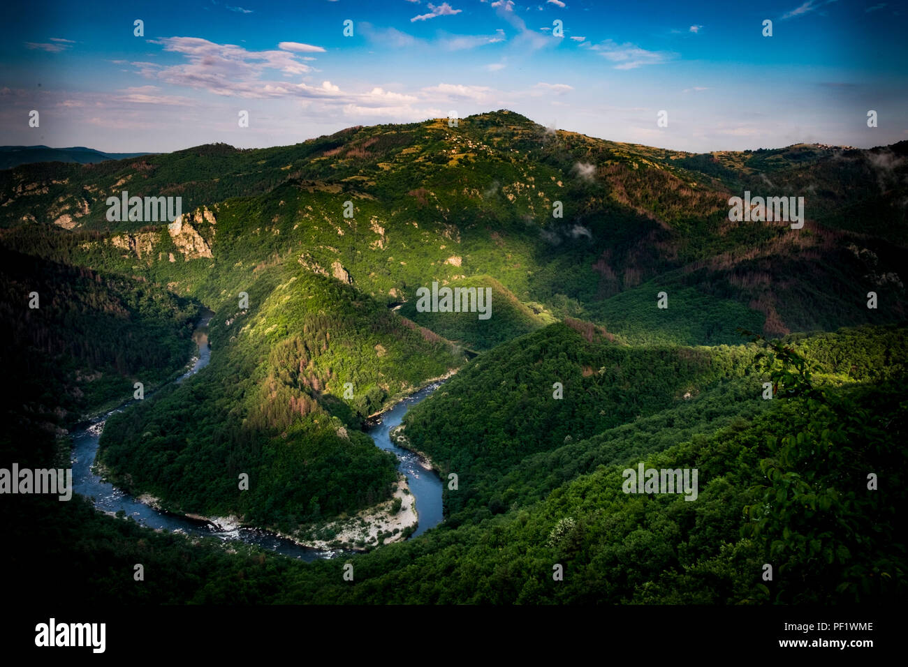 A meander in the Arda River near the town of Ardino in the eastern Rhodope Mountains. Stock Photo