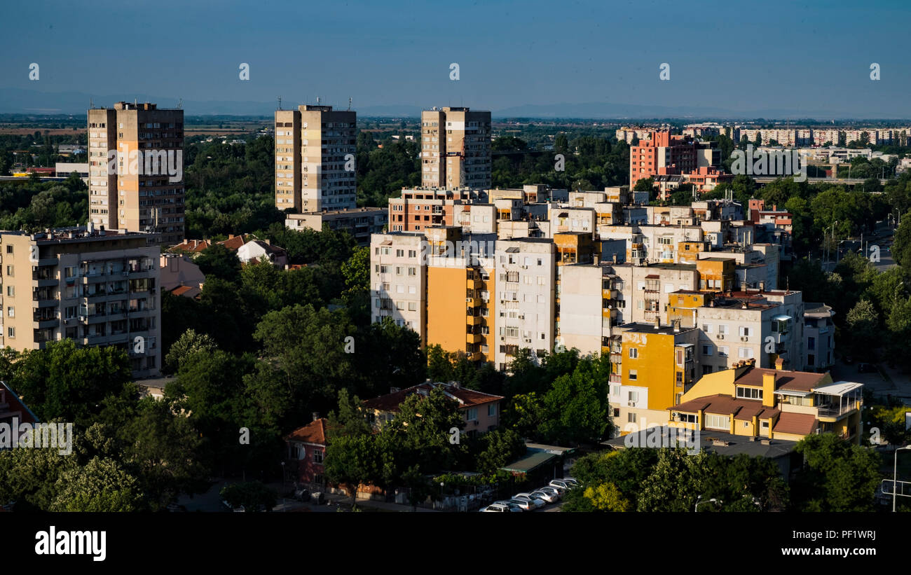 Communist era blocks of apartments in northern Plovdiv, Bulgaria's second largest city Stock Photo