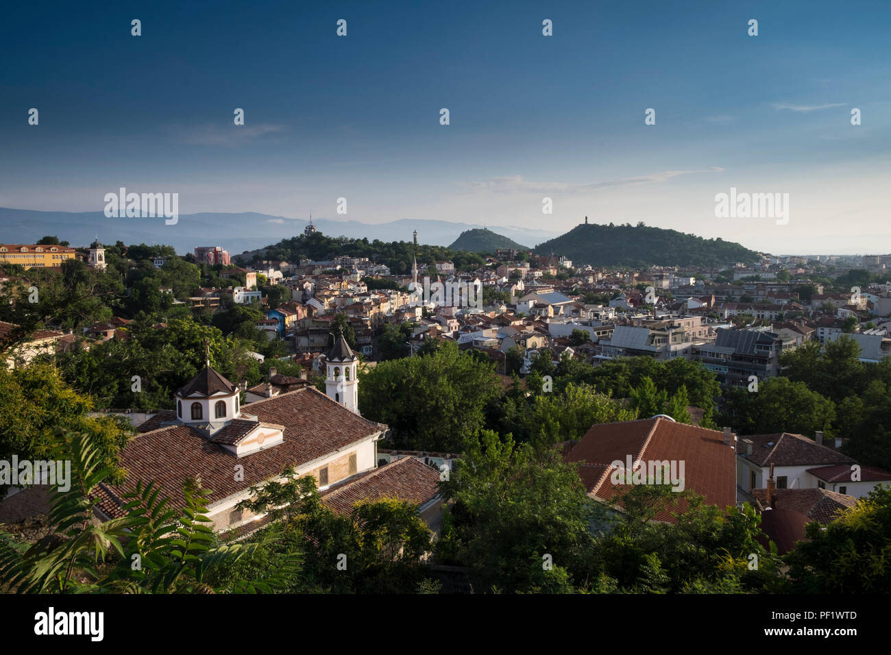 A view over the old town of Plovdiv, Bulgaria's second largest city. The city will be European Capital of Culture in 2019. Stock Photo