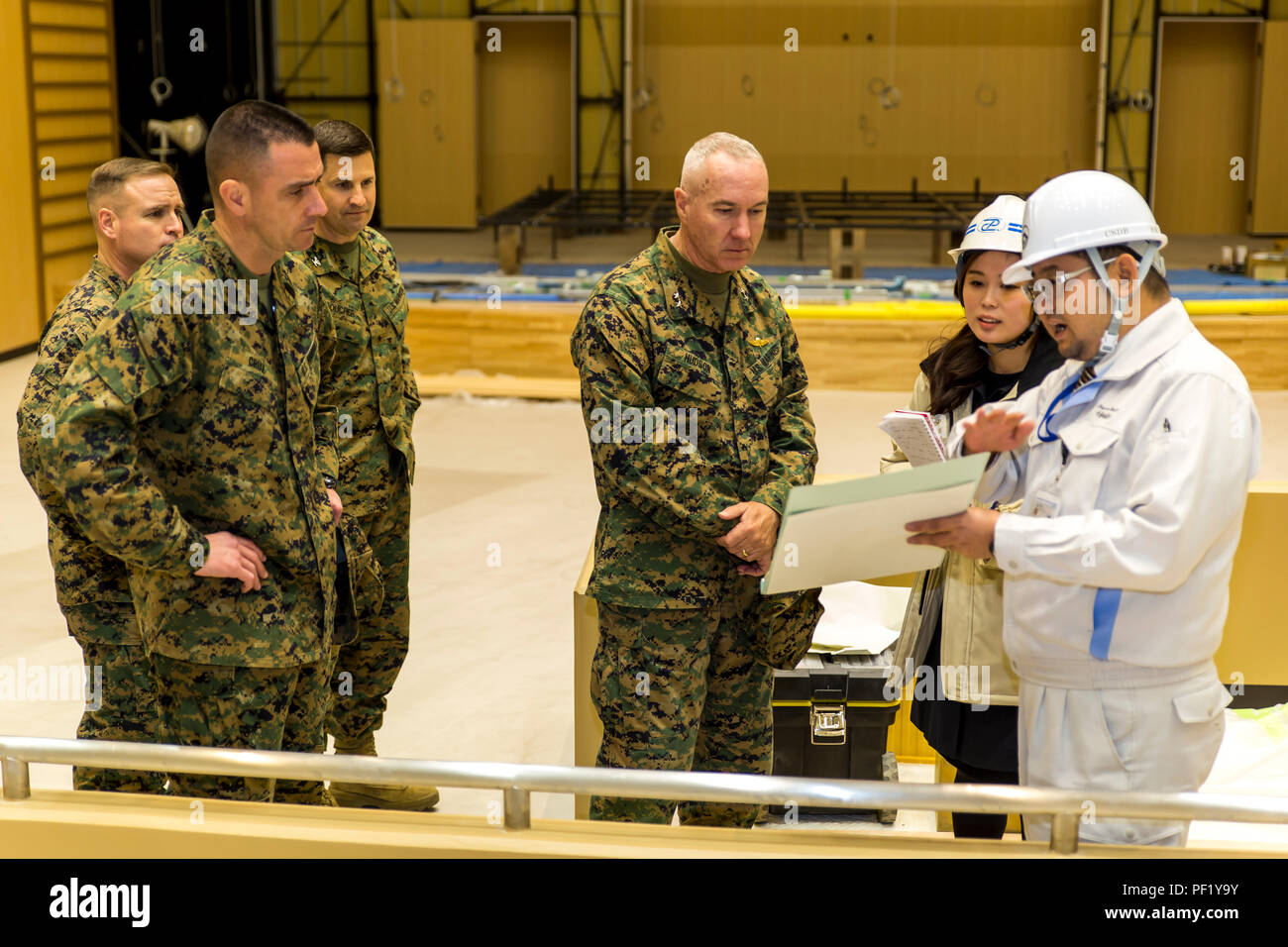 Charles Hudson, Marine Corps Installations Command commander, tours the new  high school, currently under construction, at Marine Corps Air Station  Iwakuni, ...