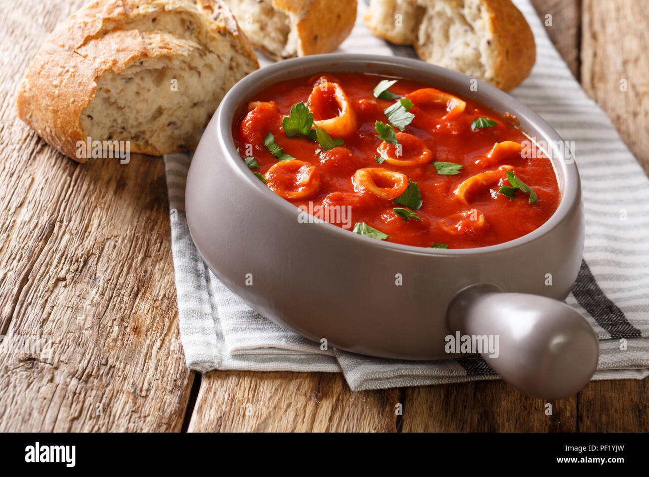 Homemade Italian food braised squid in tomato sauce with spices and parsley close-up in a pot, and fresh bread. horizontal - Stock Image
