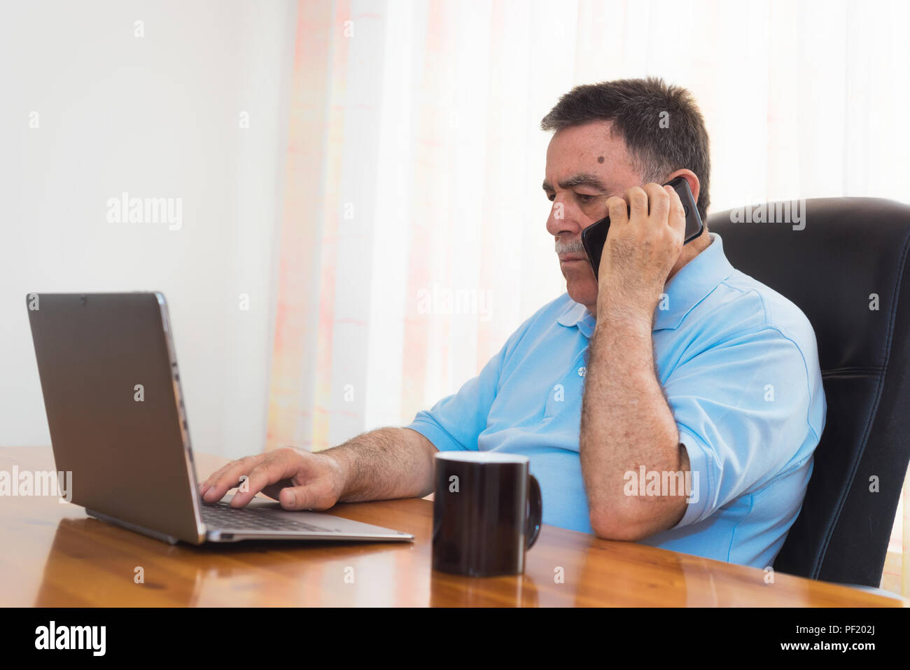 Angry Old Man And Computer Office High Resolution Stock