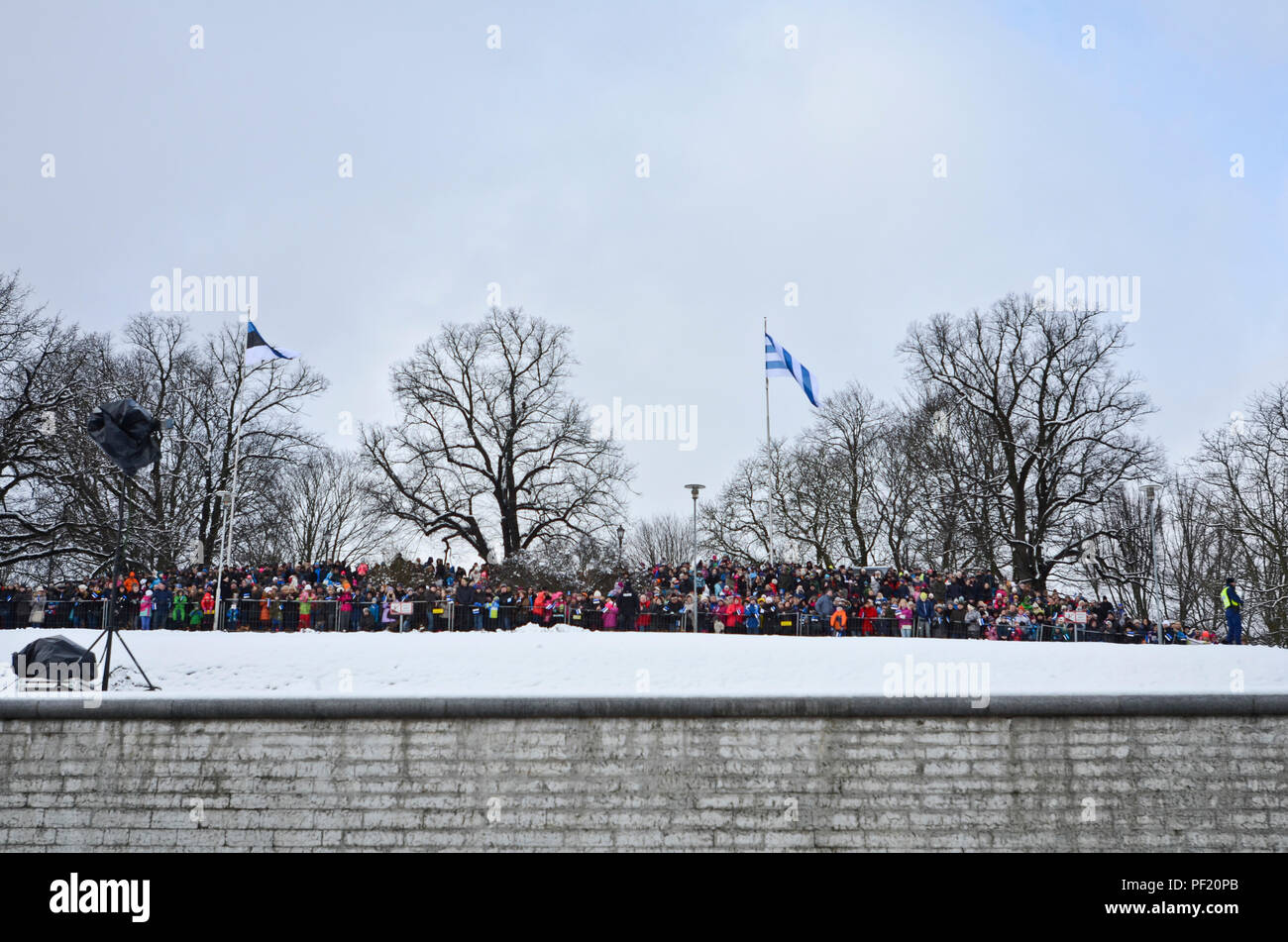 Thousands flood to the hillside, sidewalks, windows and roof tops around Freedom Square to watch the Estonian Independence Day ceremony and parade to celebrate their country's 98th year of freedom in Tallinn, Estonia, Feb. 24, 2016. (Photo by U.S. Army Staff Sgt. Steven M. Colvin/Released) - Stock Image