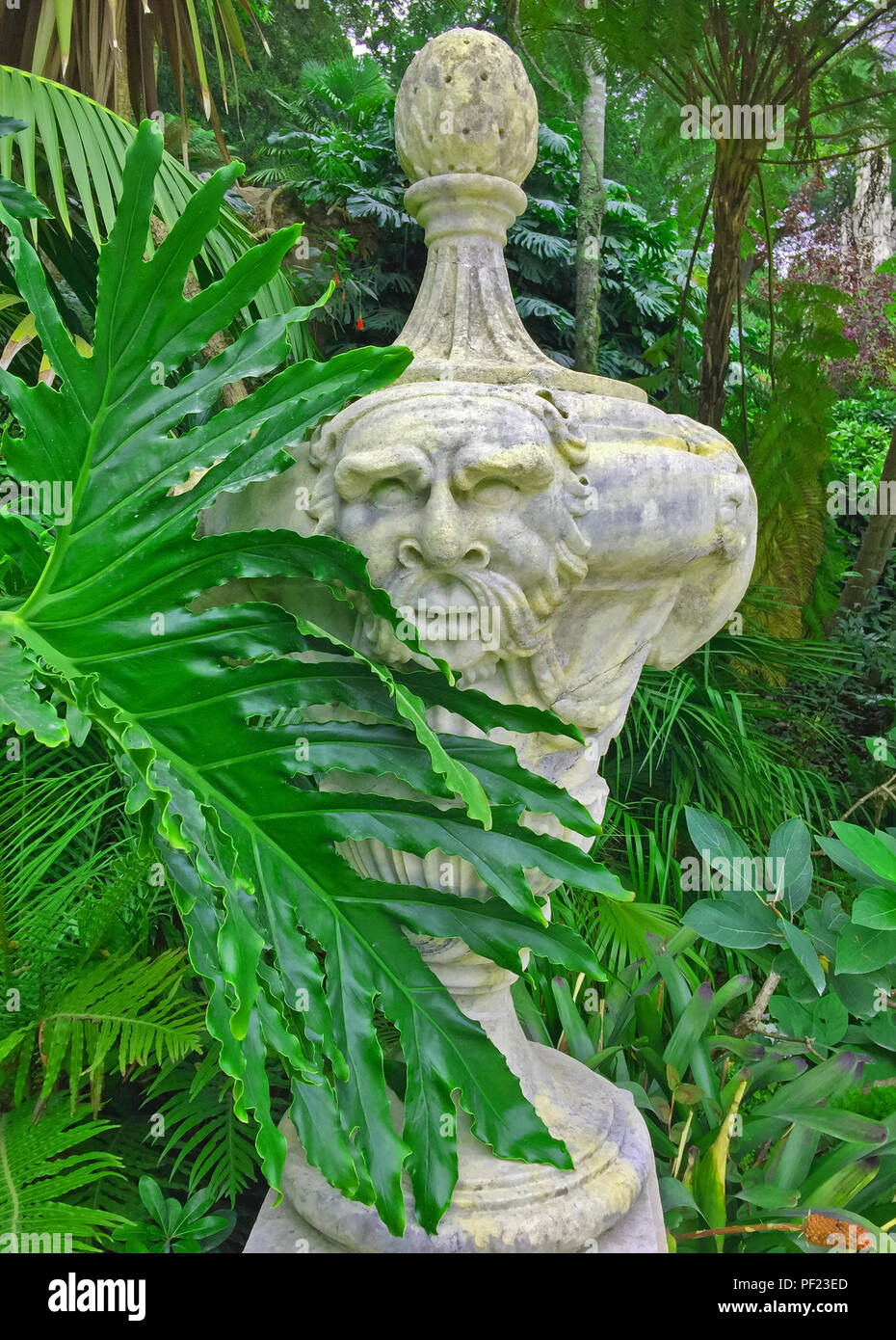 Landscape sculpture in the green philosophical garden,  summer, Sintra, Portugal - Stock Image