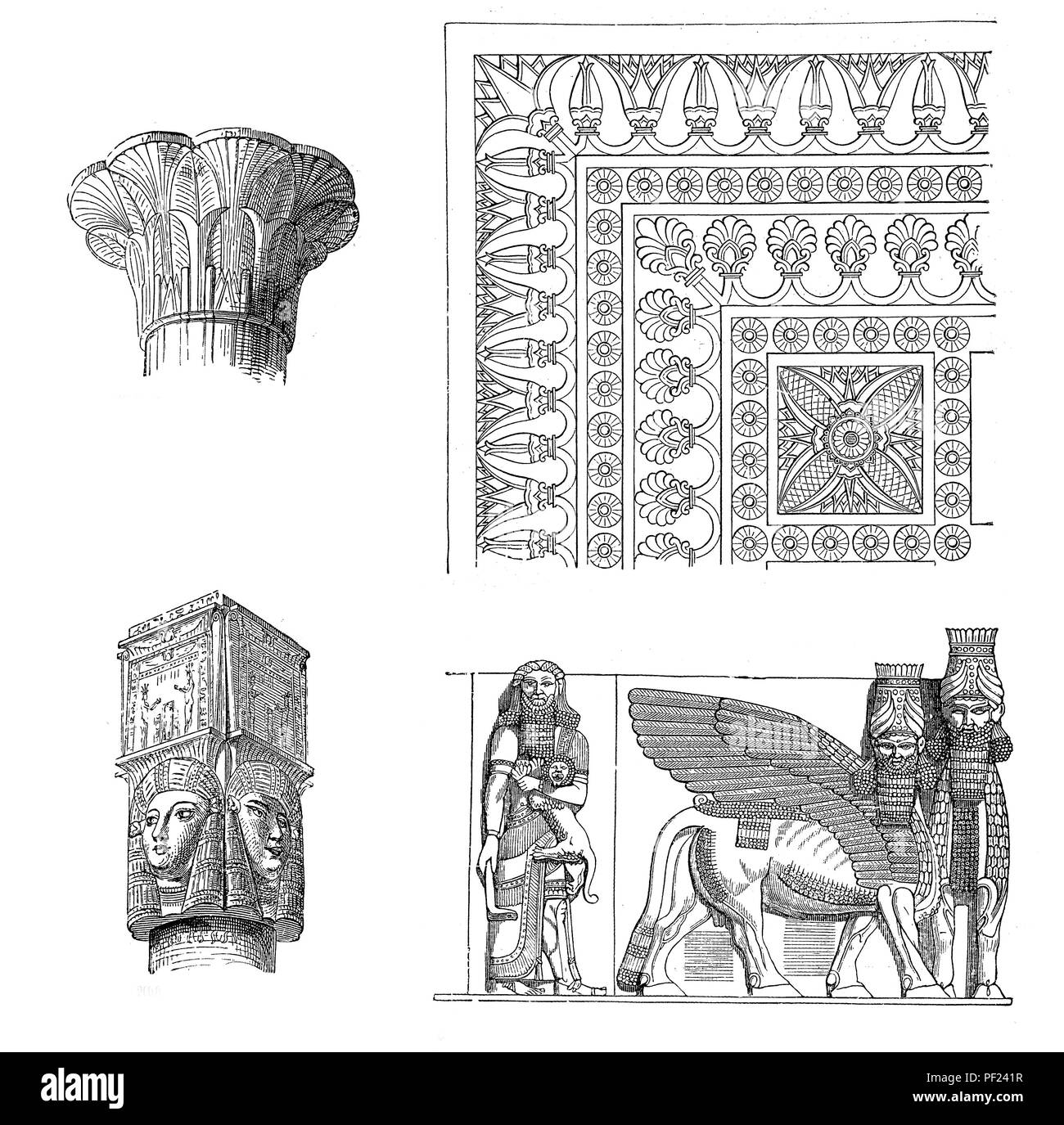 Ancient civilizations art and architecture: capital of Esna, capital of Dendera, floor ornament  and reliefs of the portal of Khorsabad - Stock Image