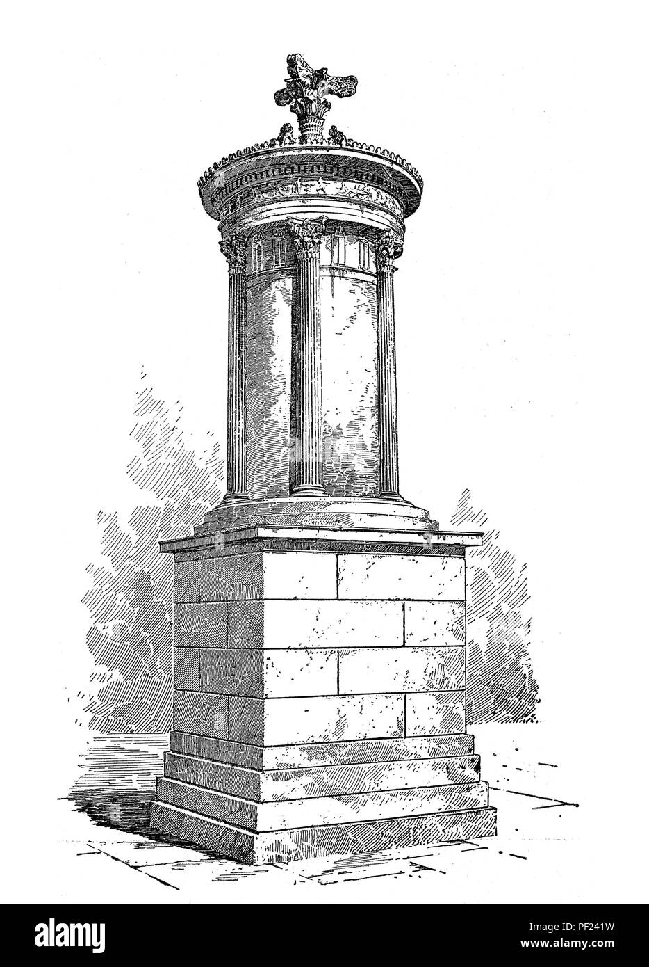 Choragic Monument of Lysicrates near the Acropolis of Athens, circular with corinthian capitals, old print - Stock Image