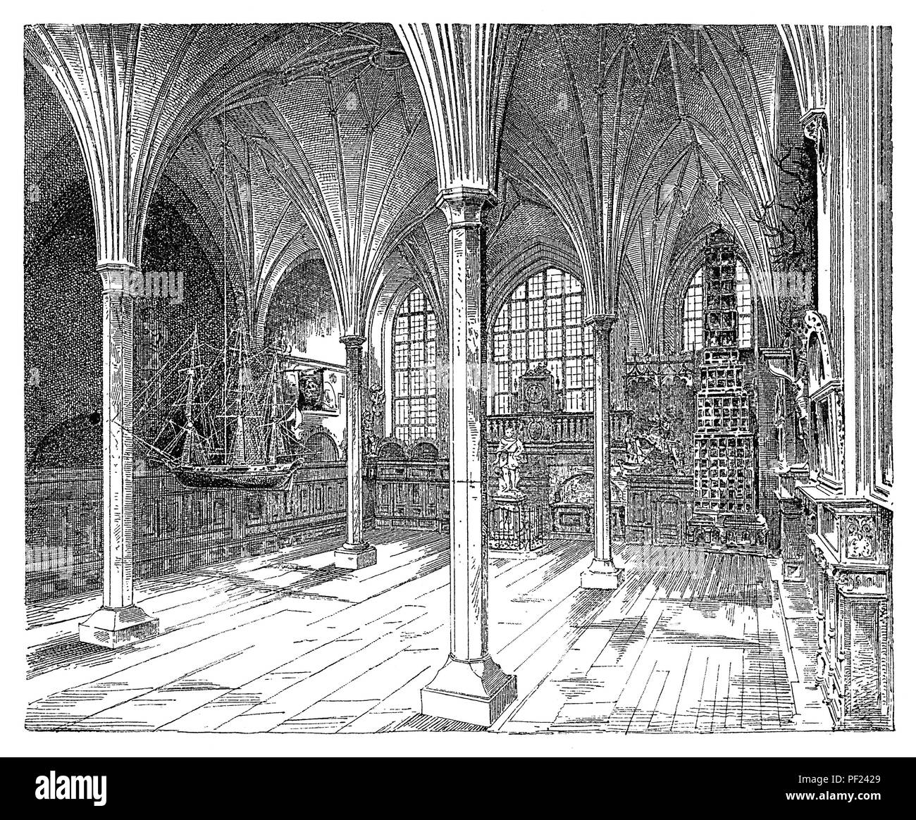 The gothic hall of  the Artus Court,  Gdańsk, Poland (German: Danzig), meeting place of merchants and a centre of social life. - Stock Image