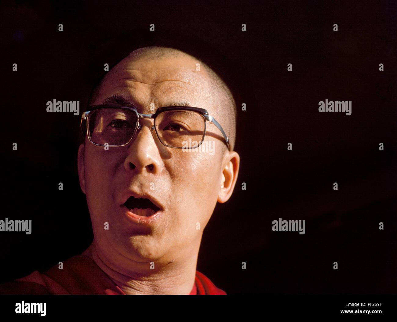 Dalai Lama his holiness 14th spiritual Leader of Tibetan Buddhists community Living in McLeod Ganj, Dharamsala, Himachal Pradesh, India. - Stock Image