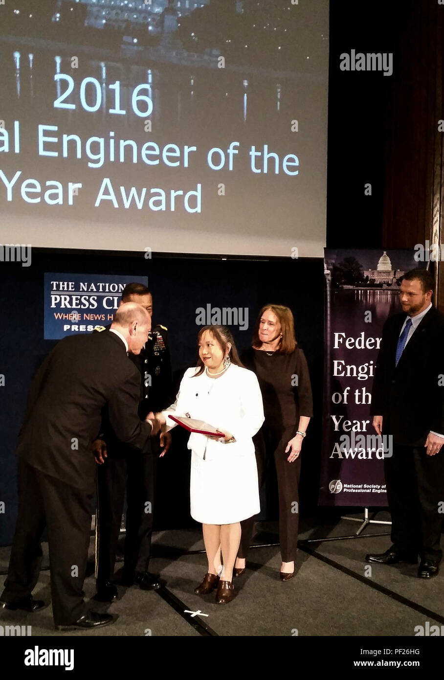 Ingrid Howard, a geotechnical engineer with the U.S. Army Corps of Engineers, Middle East District, was recognized in the National Society of Professional Engineers' 2016 Federal Engineer of the Year Award Ceremony at the National Press Club in Washington Feb. 26. - Stock Image