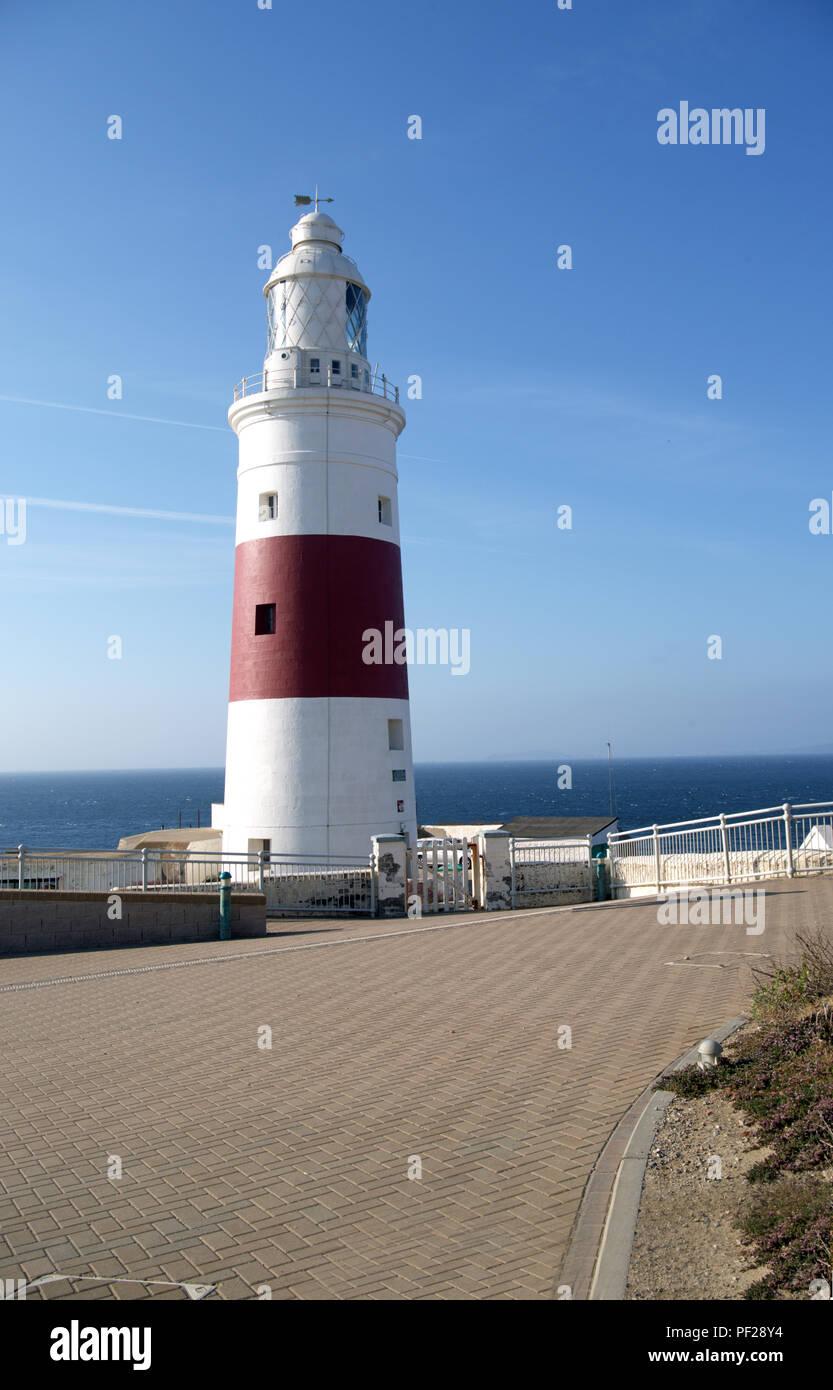 Europa Point Lighthouse Close on Gibraltar Stock Photo