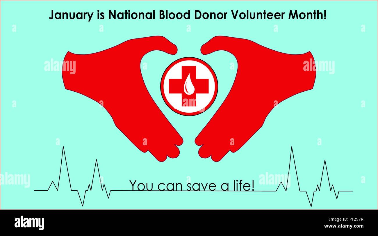 January is National Blood Donor Volunteer Month. Give Blood. Save a life. (U.S. Air Force graphic/Staff Sgt. Daniel Phelps) - Stock Image