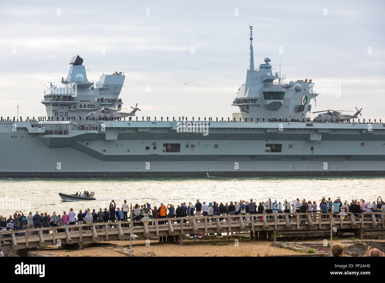 The Royal Navy's newest and largest ever warship, HMS Queen Elizabeth leaves Portsmouth this evening for sea trials in the North Atlantic. - Stock Image