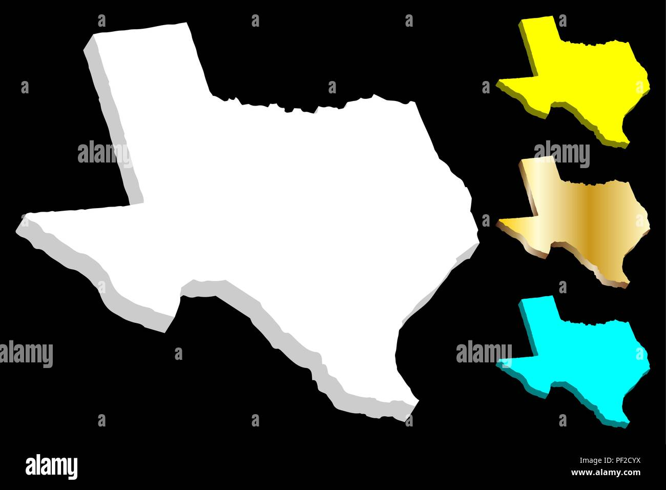 3d Map Of Texas United States Of America The Lone Star State
