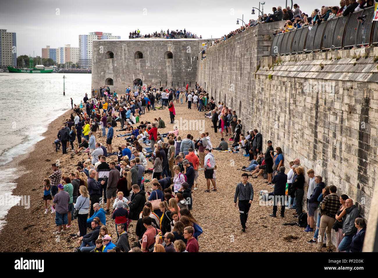 18 August 2018 crowds awaiting the departure of Royal Navy Flagship HMS Queen Elizabeth from Portsmouth - Stock Image