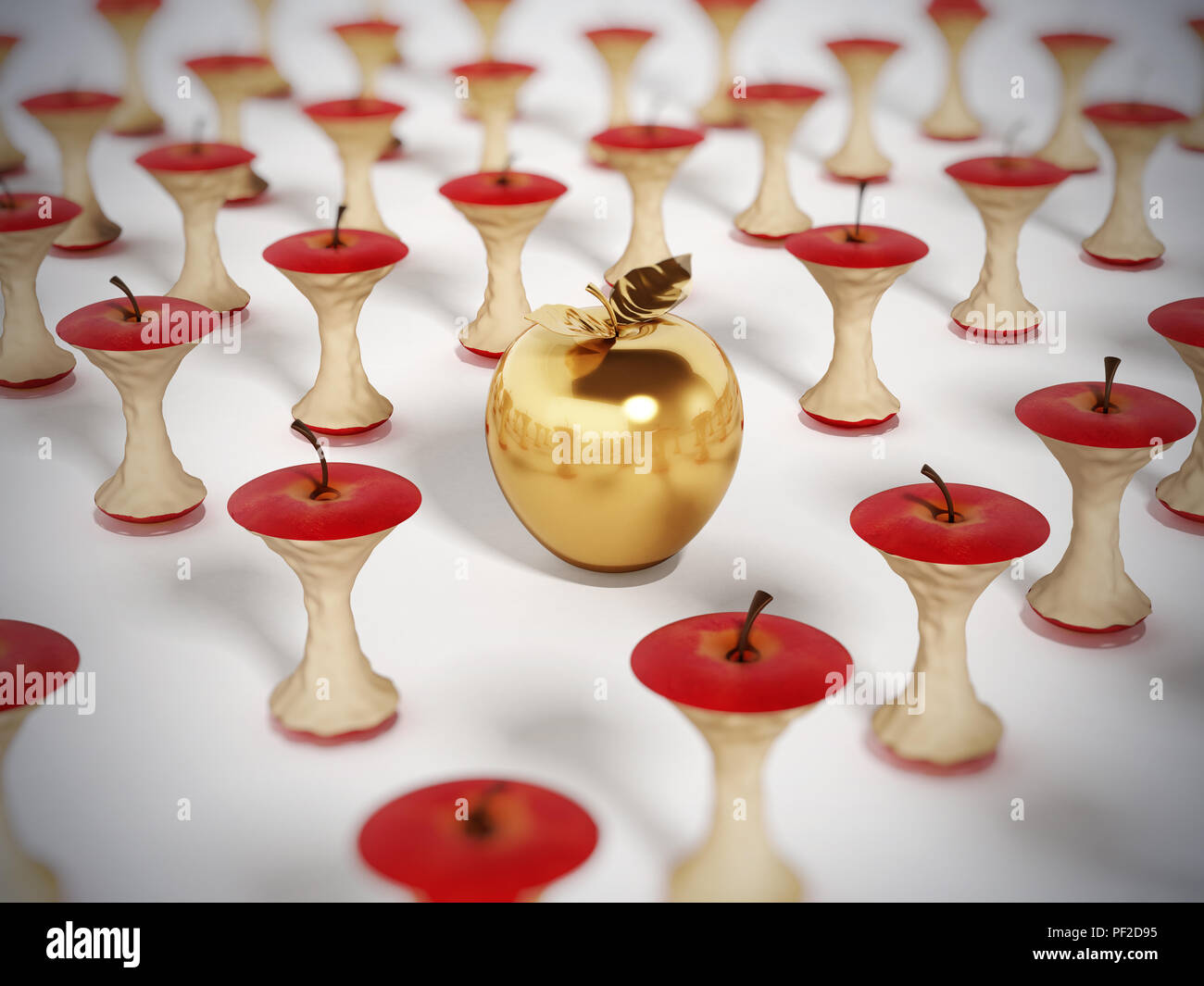 Golden apple standing out among eaten apple cores. 3D illustration. - Stock Image
