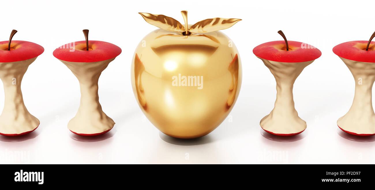 Golden apple standing out among eaten apple cores. 3D illustration. Stock Photo