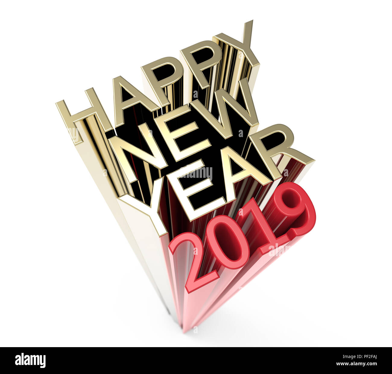 happy new year 2019 on a white background 3d illustration