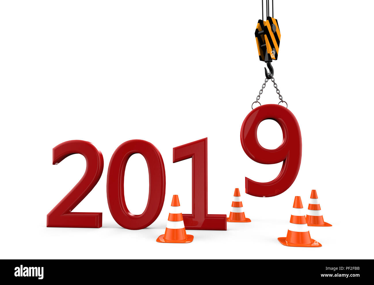 New Year work in progress 2019 isolated on a white background: 3D illustration - Stock Image