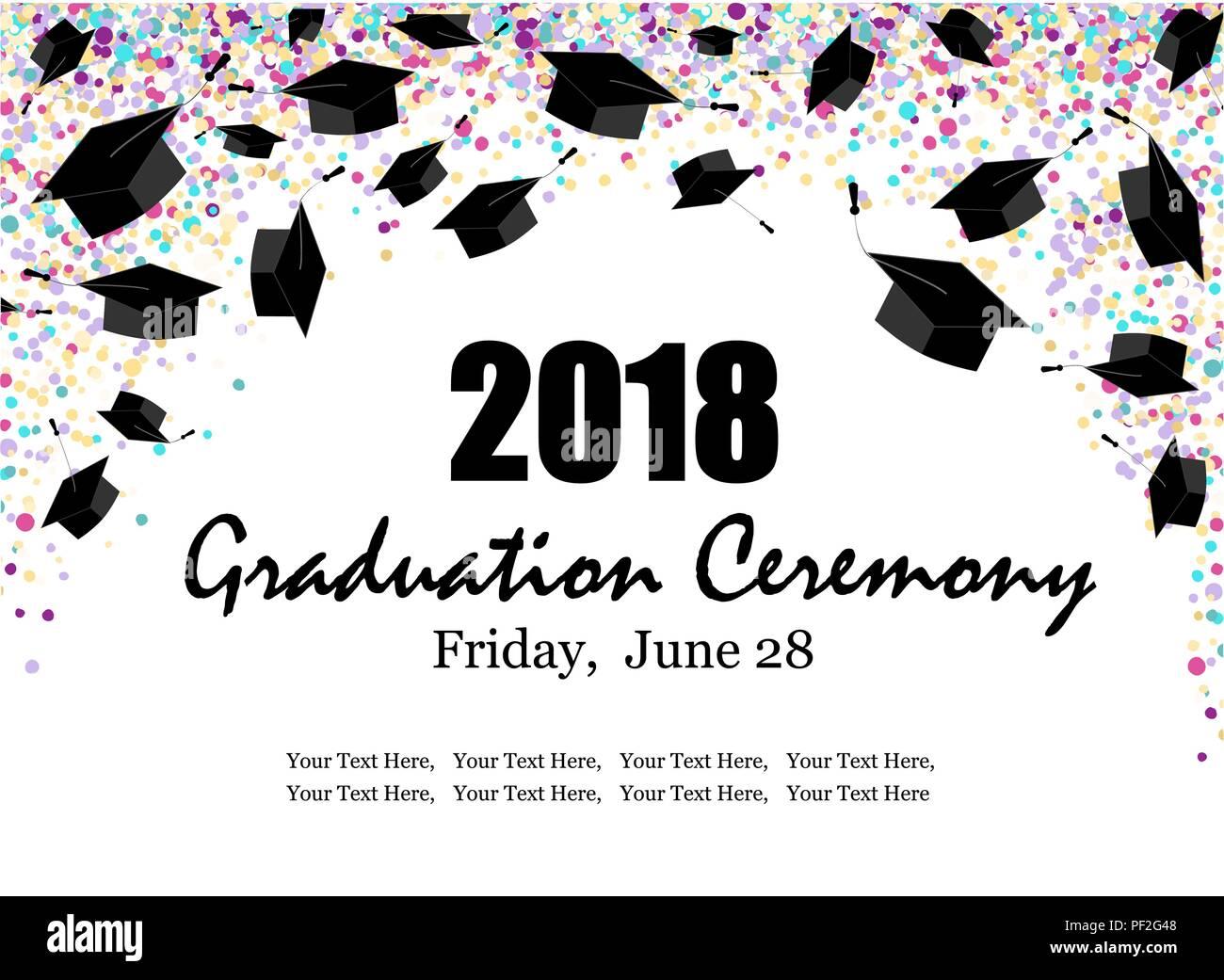 Graduate caps on bright multi colored confetti background. Graduate ceremony horizontal banner or card. Vector illustration - Stock Vector