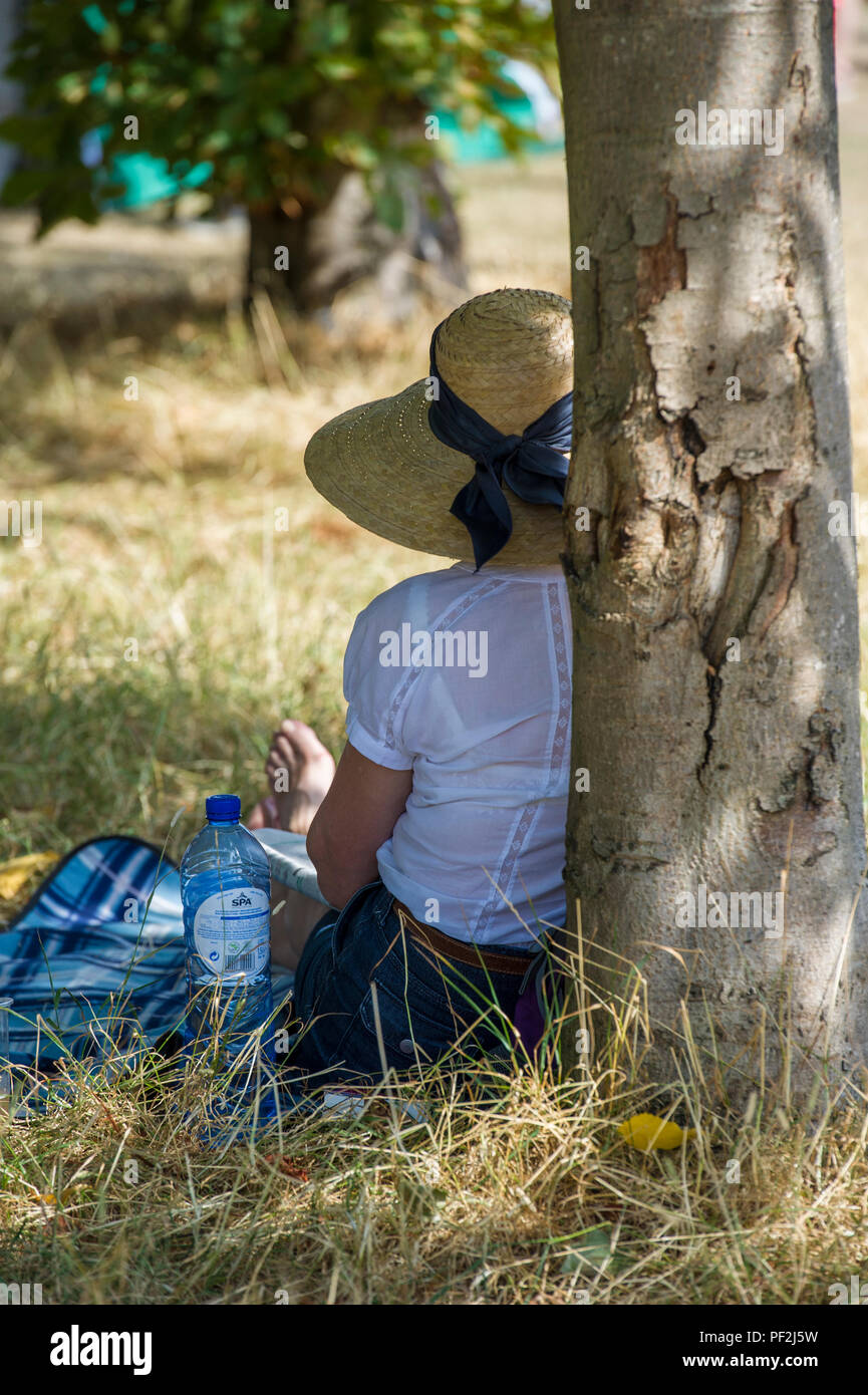 A lady sits, relaxed and cool at an open air music festival on a hot day - Stock Image