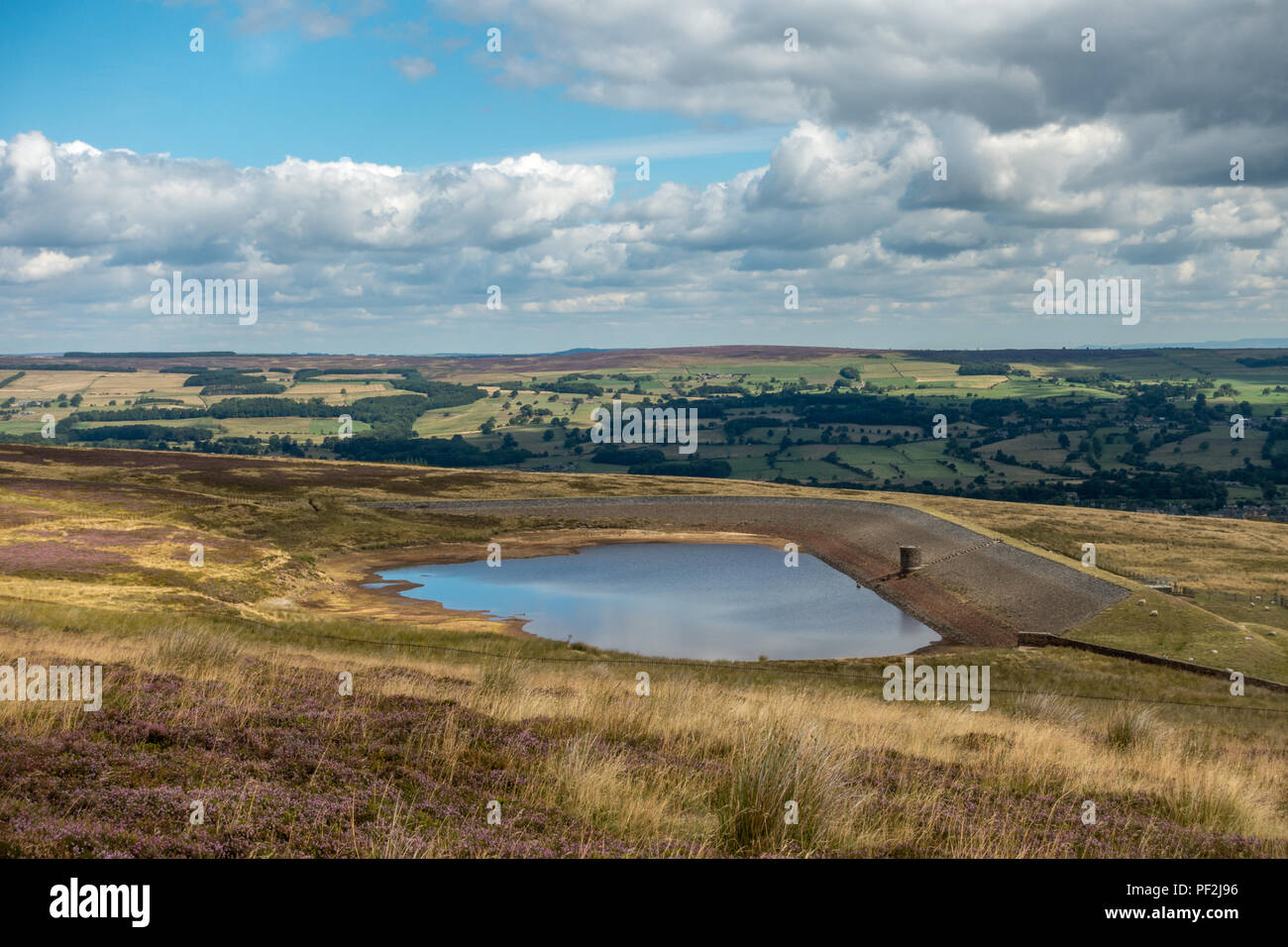 Carr Bottom reservoir has lost around half of its water to evaporation in the 2018 heatwave (source: see more detail) Stock Photo