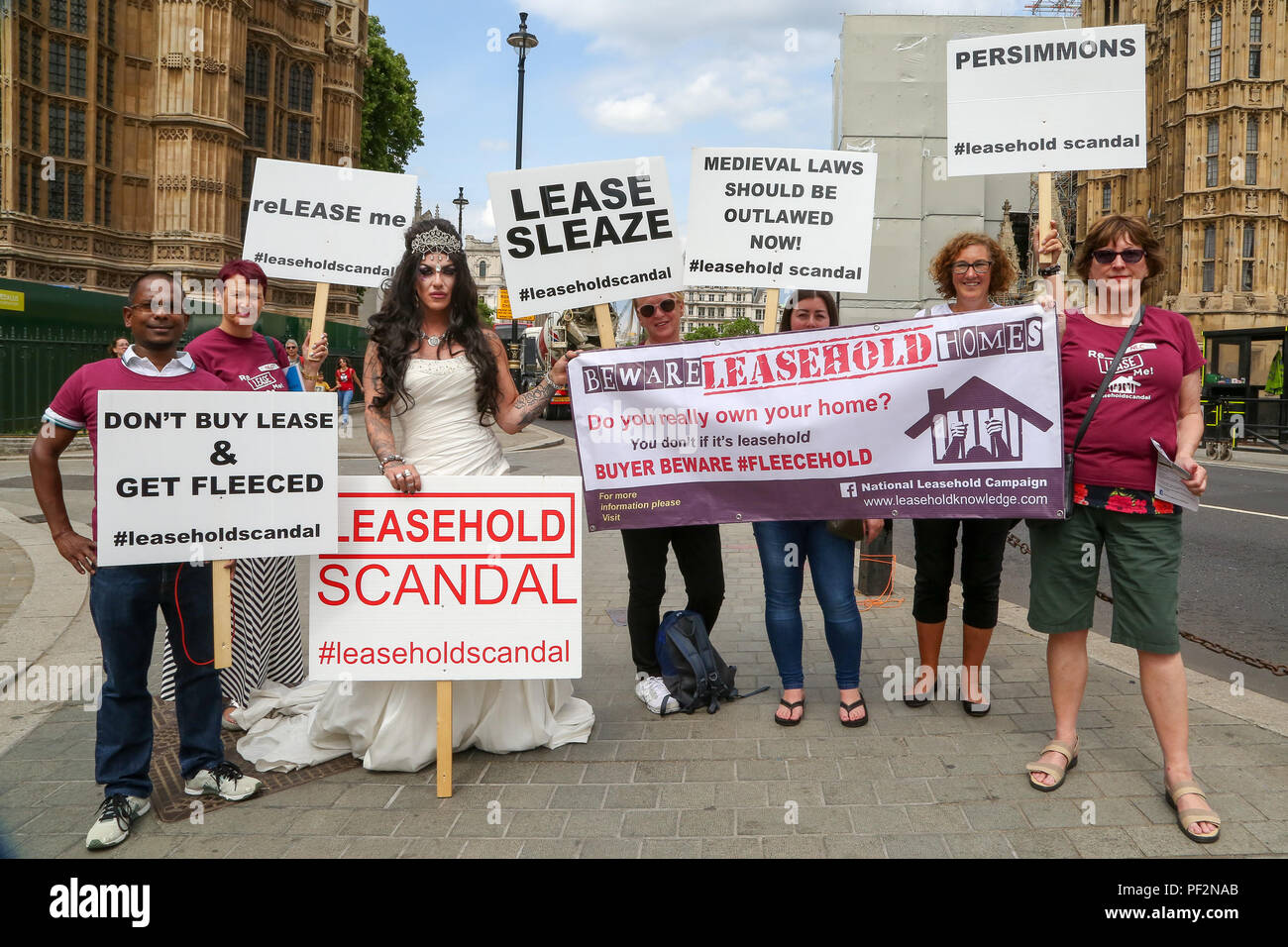Members of the National Leasehold Campaign (NLC) stage a protest opposite the Parliament over the scandal of property leaseholder rights which currently allow landlords to buy and sell property freeholds with little or no control over service charges or ground rent.  Featuring: Atmosphere, View Where: London, United Kingdom When: 18 Jul 2018 Credit: Dinendra Haria/WENN - Stock Image