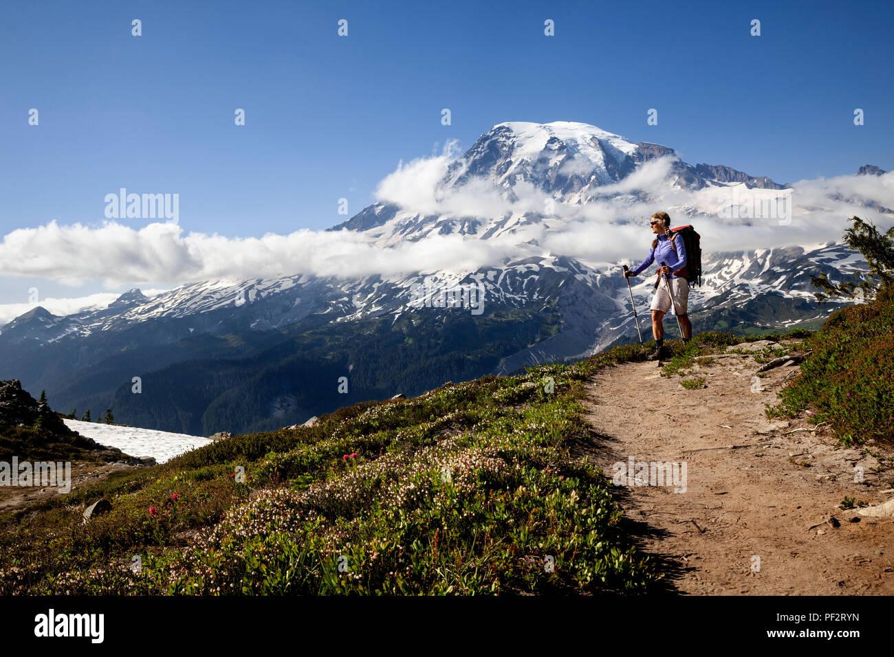WA14713-00...WASHINGTON - Hiker in the Tatoosh Range with Mount Rainier in the distance, Mount Rainier National Park. (MR# S1) - Stock Image