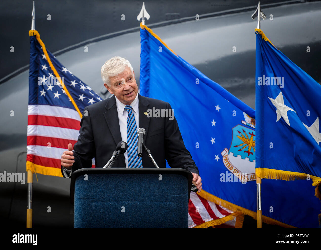 Retired Gen. Charles Holland, former commander of U.S. Special Operations Command and Air Force Special Operations Command, speaks to guests during the AC-130H Spectre dedication ceremony at Hurlburt Field, Fla., Feb. 2, 2016. The Spectre played a role in operations all over the world, first in Vietnam, proceeding into the latter of the 20th century with operations Eagle Claw, Urgent Fury, Just Cause and Desert Storm. The last operational years of the AC-130H Spectre were spent flying combat missions in the Balkans and Somalia, and in Afghanistan in support of Operation Enduring Freedom. (U.S. - Stock Image