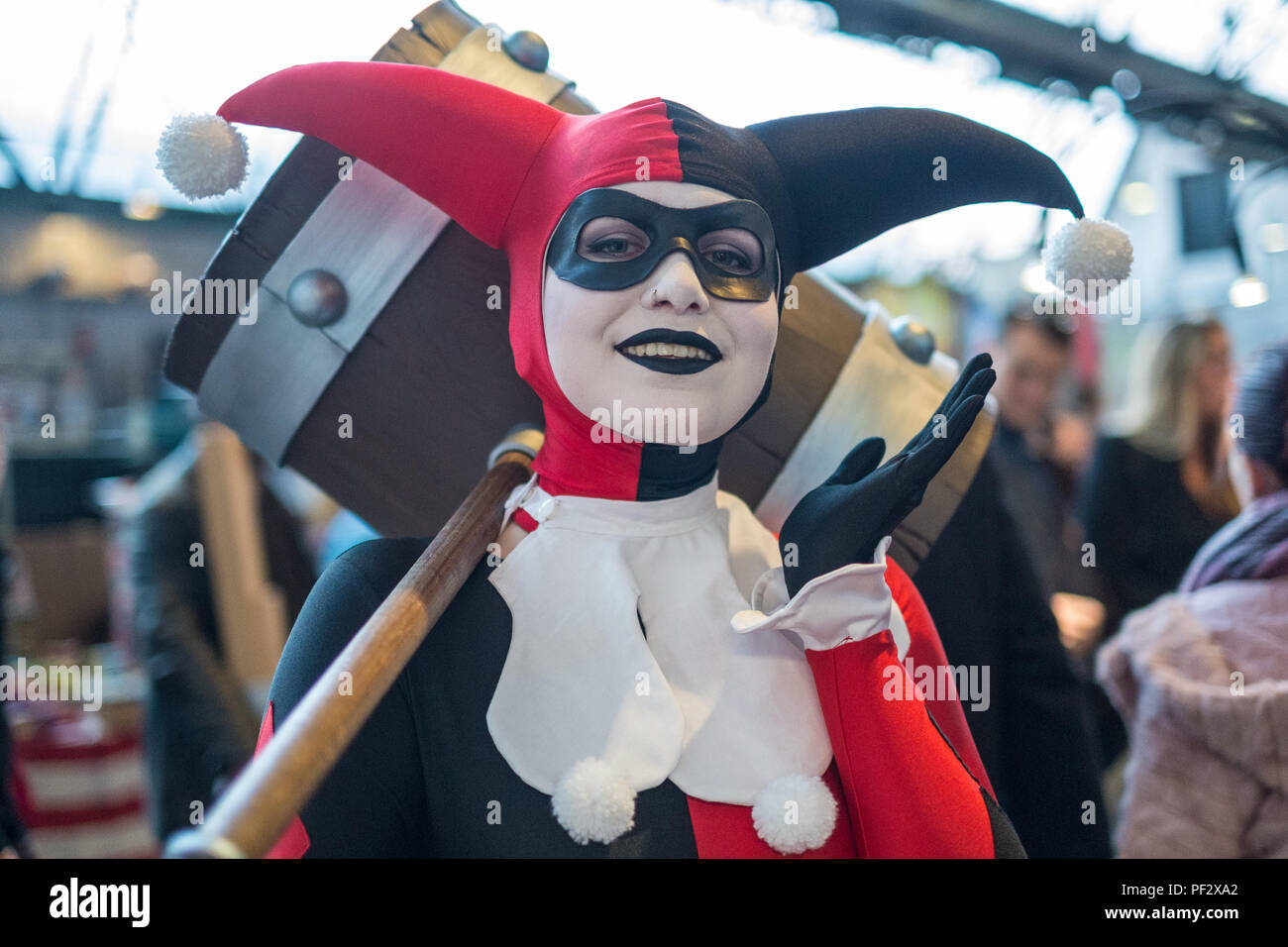 Bruseels, Belgium. 10th February, 2018. An attendee to Comicon dressed as Harley Quin from the Suicide Squad Credit: Sara Armas/Alamy Reportage. - Stock Image