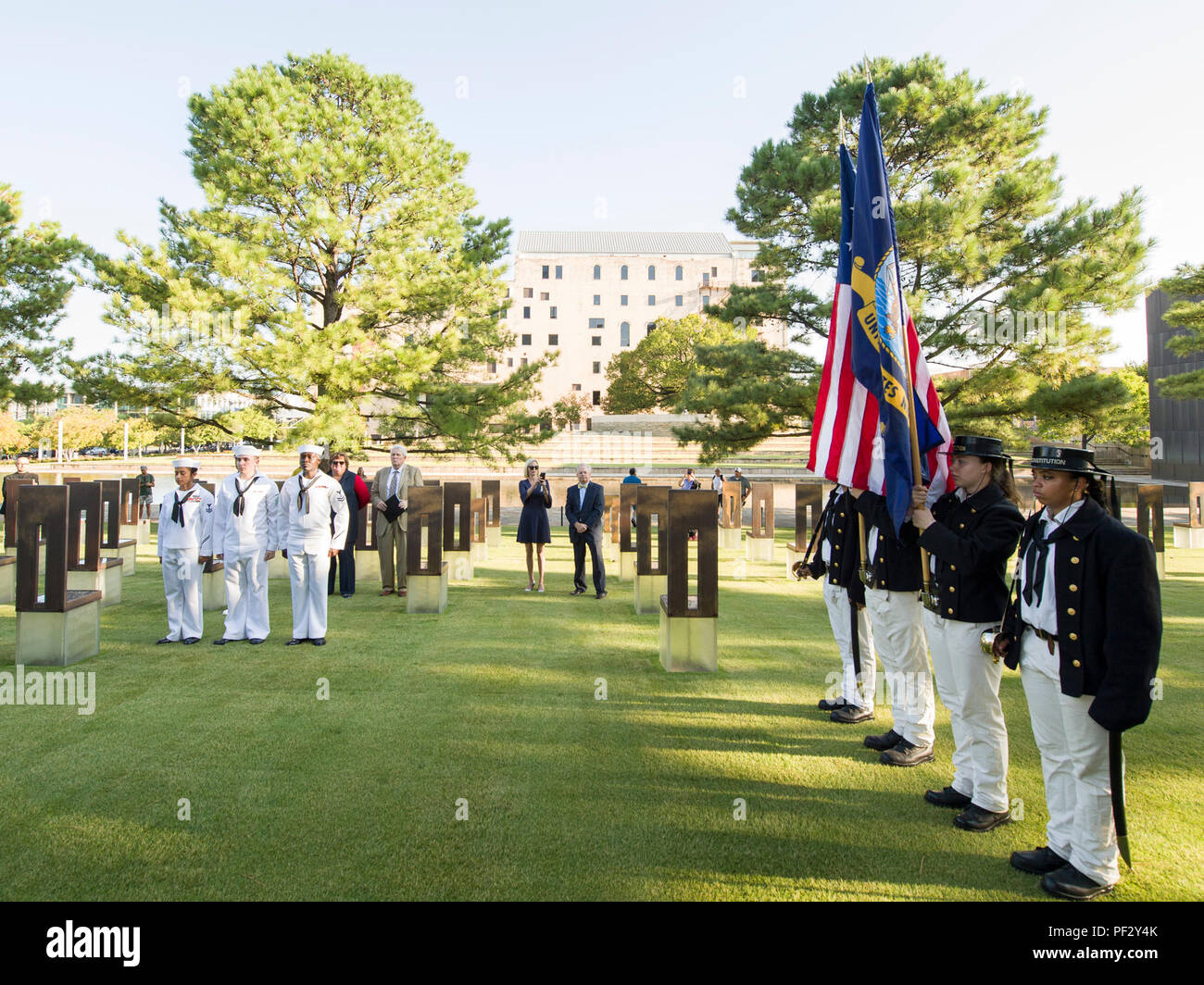 170919-N-KB426-024  OKLAHOMA CITY (Sept. 19, 2017) Sailors assigned to Navy Operational Support Center Oklahoma City and the USS Constitution honor Legalman 1st Class Kimberly Kay Clark during a wreath laying ceremony at the Oklahoma City National Memorial and Museum as part of Navy Week Oklahoma City. A Navy Reservist, Clark was among the 168 killed April 19, 1995 during the Oklahoma City bombing. Navy Week programs serve as the principal outreach effort into areas of the country without a significant Navy presence, helping Americans understand that their Navy is deployed around the world, ar Stock Photo