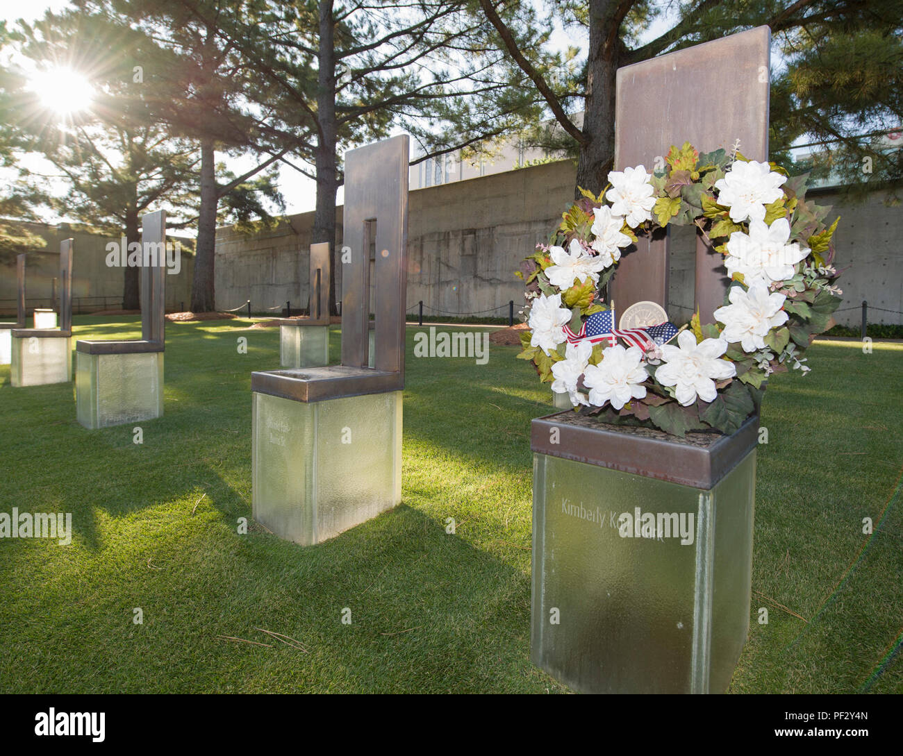 170919-N-KB426-036  OKLAHOMA CITY (Sept. 19, 2017) A wreath lays on Legalman 1st Class Kimberly Kay Clark's memorial at the Oklahoma City National Memorial and Museum during Navy Week Oklahoma City. A Navy Reservist, Clark was among the 168 killed April 19, 1995 during the Oklahoma City bombing. Navy Week programs serve as the principal outreach effort into areas of the country without a significant Navy presence, helping Americans understand that their Navy is deployed around the world, around the clock, ready to defend America at all times. (U.S. Navy photo by Mass Communication Specialist 2 Stock Photo