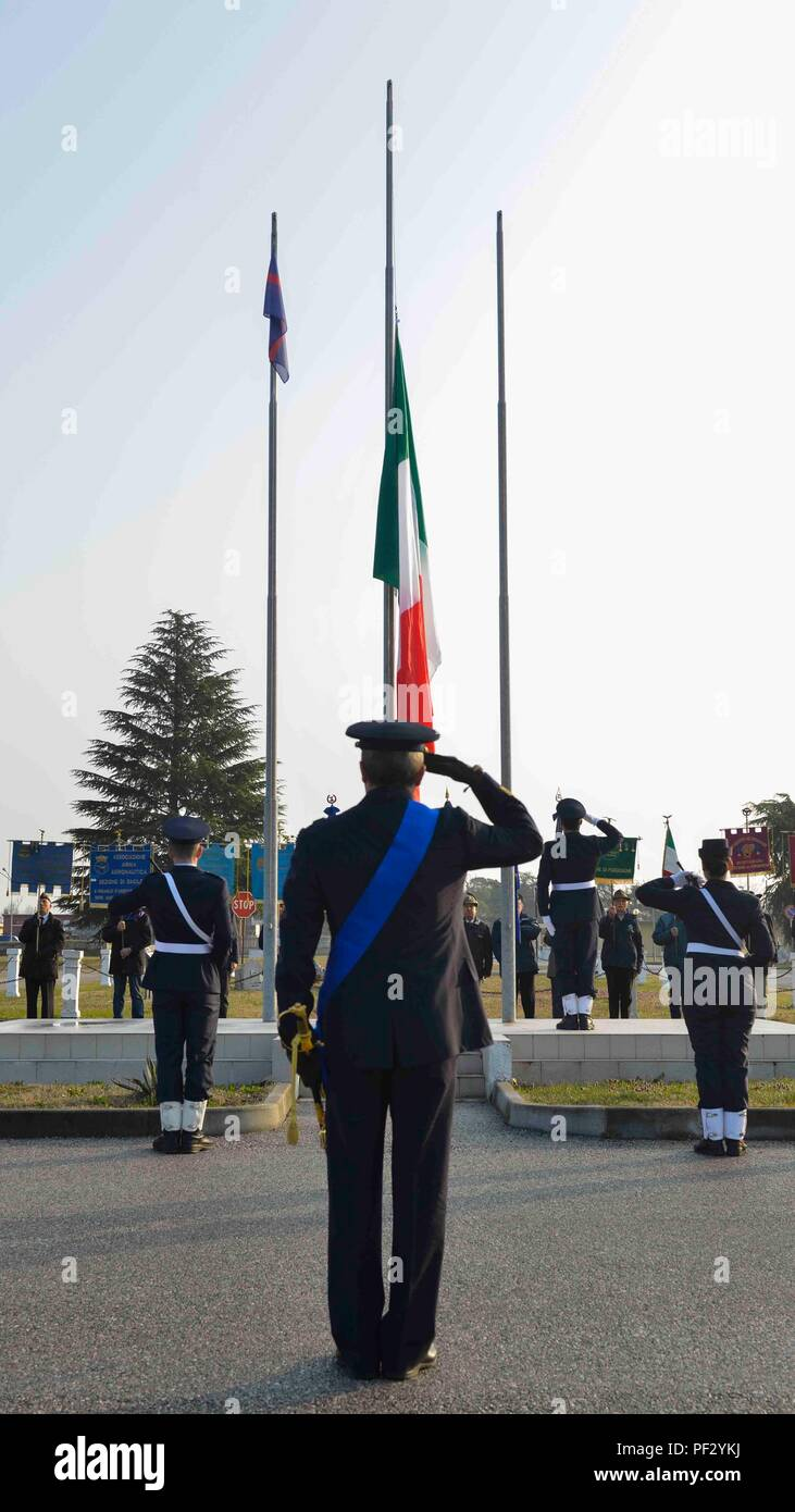 The Italian Royal Air Force was created on March 28, 1923, which became the Aeronautica Militare (Italian Air Force) later. Brig. Gen. Lance Landrum, 31st Fighter Wing commander, attended the ceremony commemorating the event. (U.S. Air Force photo by Staff Sgt. Austin Harvill) Stock Photo