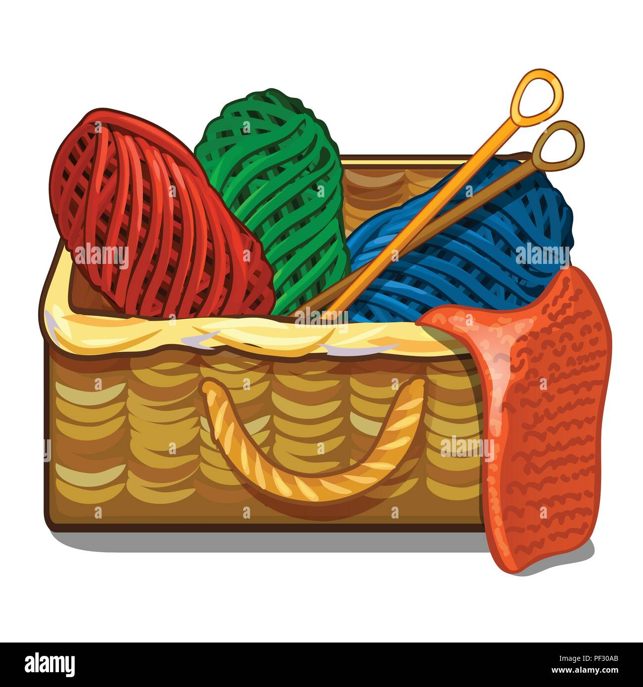 Set Of Colorful Tangles Of Wool Yarn And Knitting Needles Are In A Wicker Crate Isolated On A White Background Vector Cartoon Close Up Illustration Stock Vector Image Art Alamy