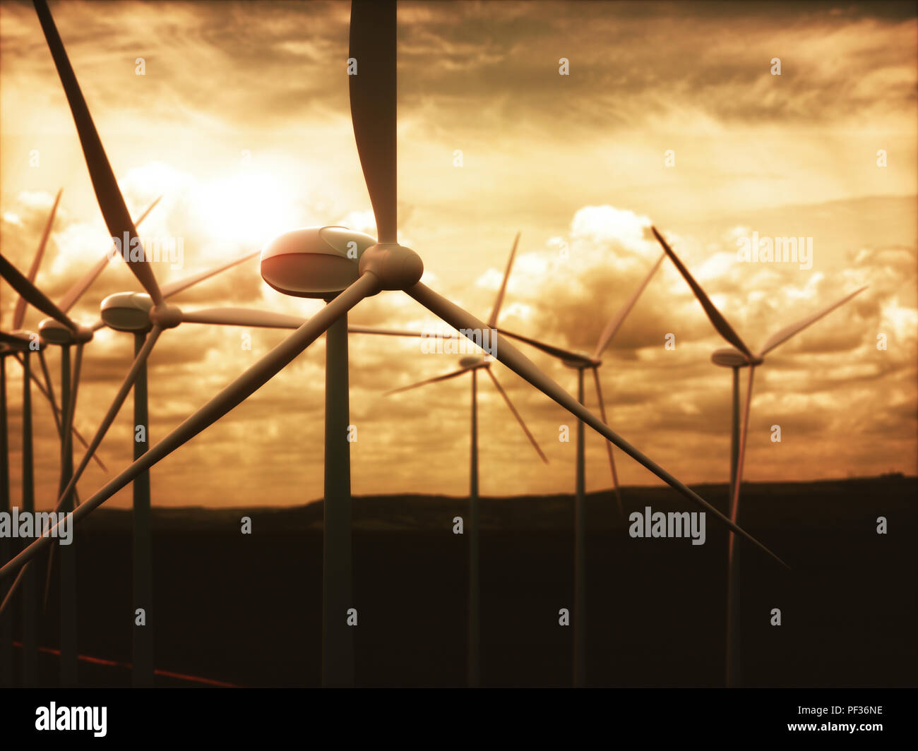 Wind farms in wind power generation. Mechanical energy being transformed into electrical energy. - Stock Image