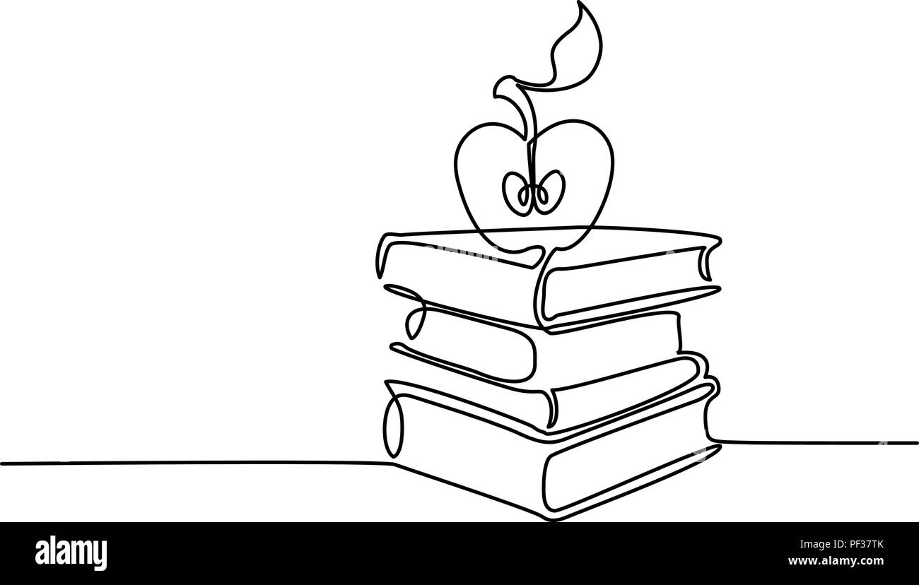 Continuous line drawing  Stack of books with apple  Vector