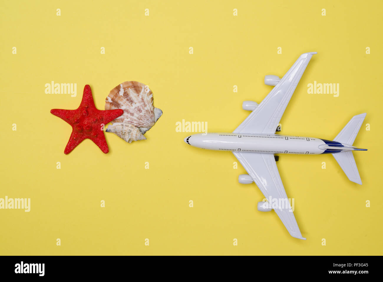 Travel airplane and start shells on yellow background Stock Photo