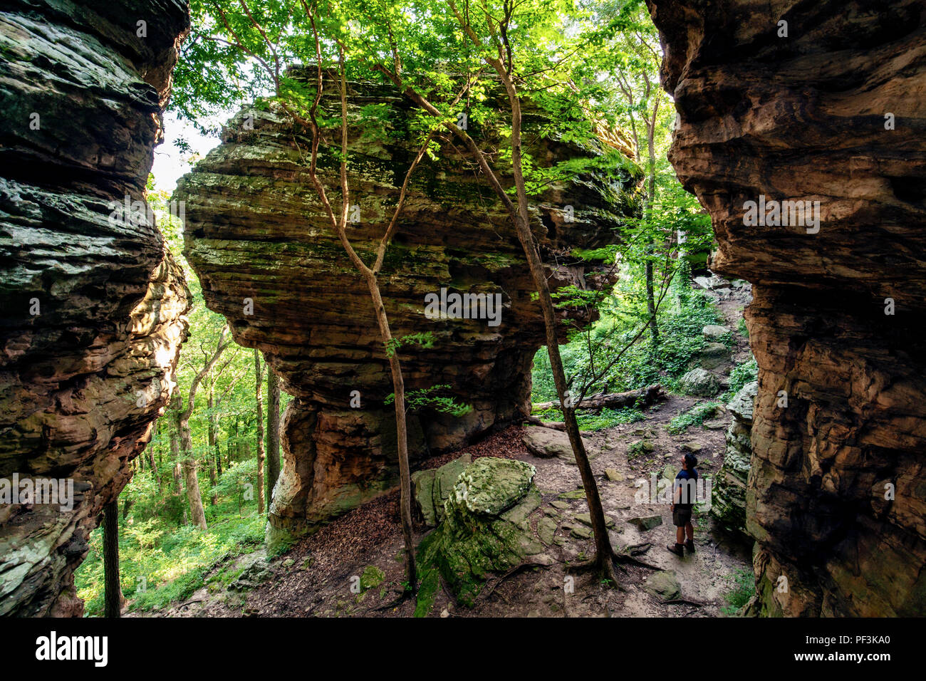 Person standing near massive sandstone rock formation - Indian Point Trail - Garden of the Gods, Shawnee National Forest, Illinois, USA - Stock Image