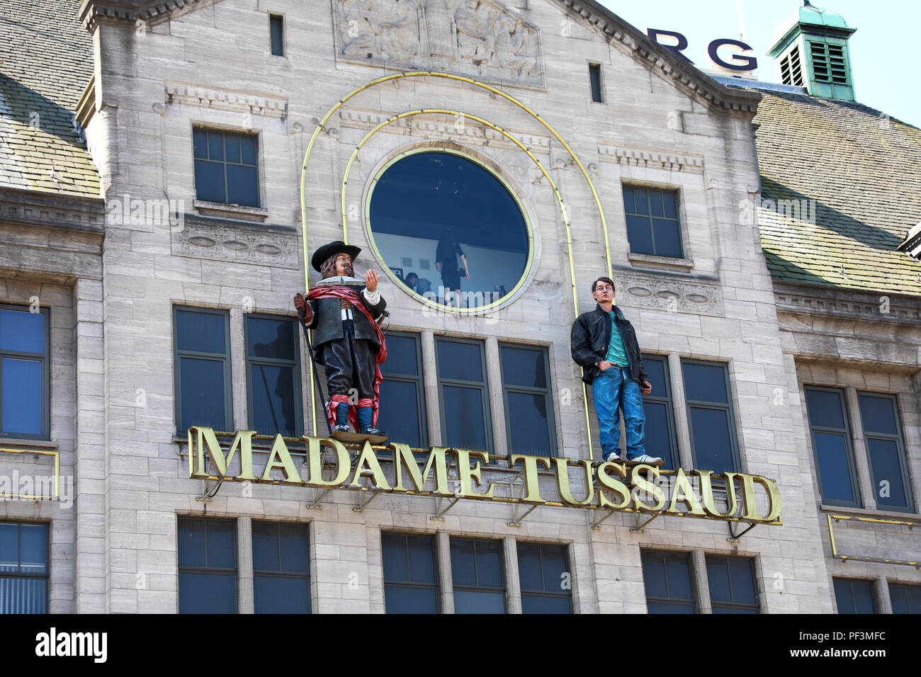 AMSTERDAM, NETHERLANDS - JUNE 6, 2018: entrance sign on the building of Madame Tussaud Museum in Amsterdam, Netherlands - Stock Image