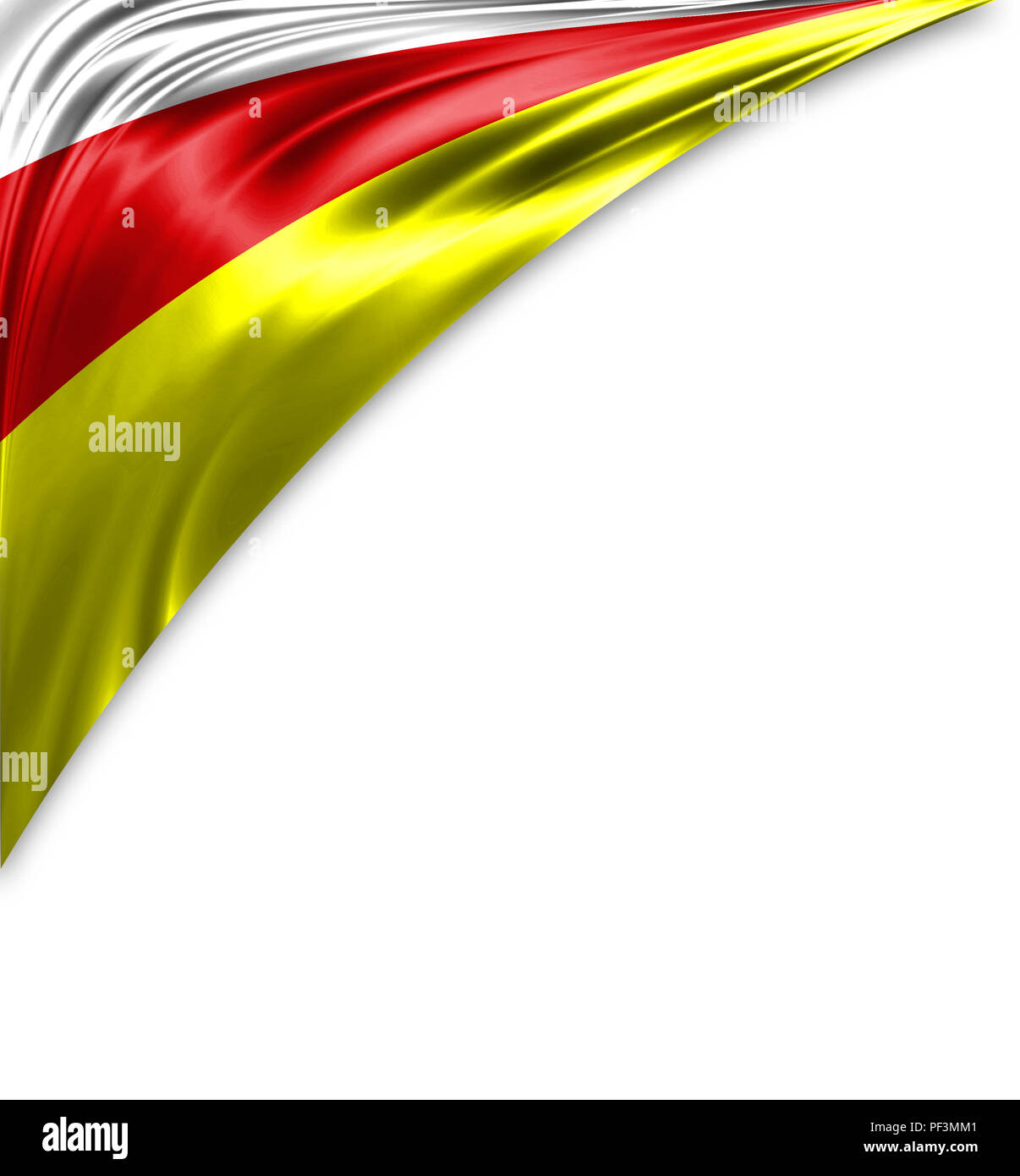 North Ossetia flag of silk with copyspace for your text or images and white background. - Stock Image