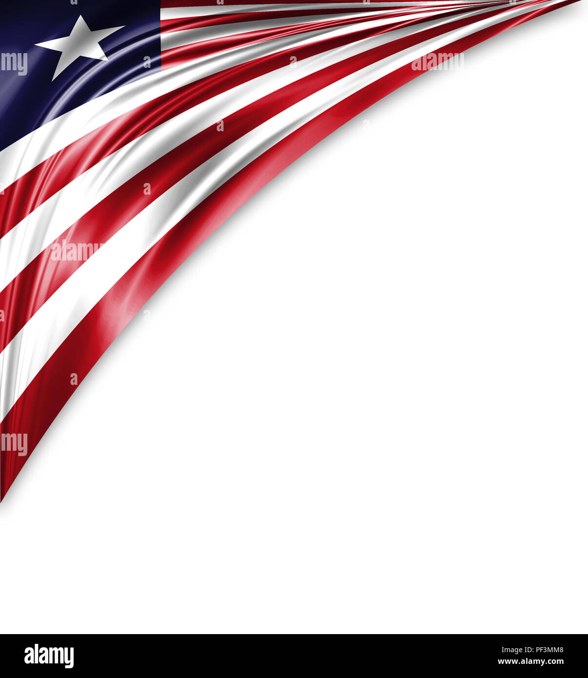 Liberia flag of silk with copyspace for your text or images and white background. - Stock Image