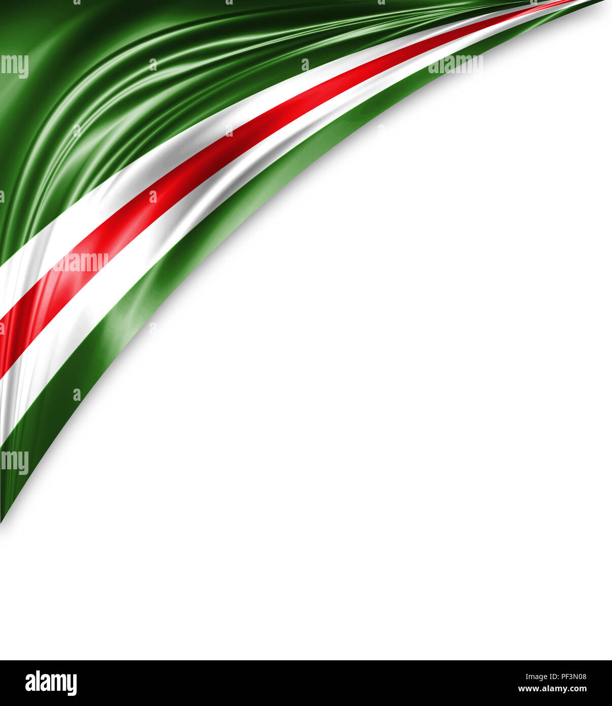 Chechen Republic of Ichkeria flag of silk with copyspace for your text or images and white background. Stock Photo