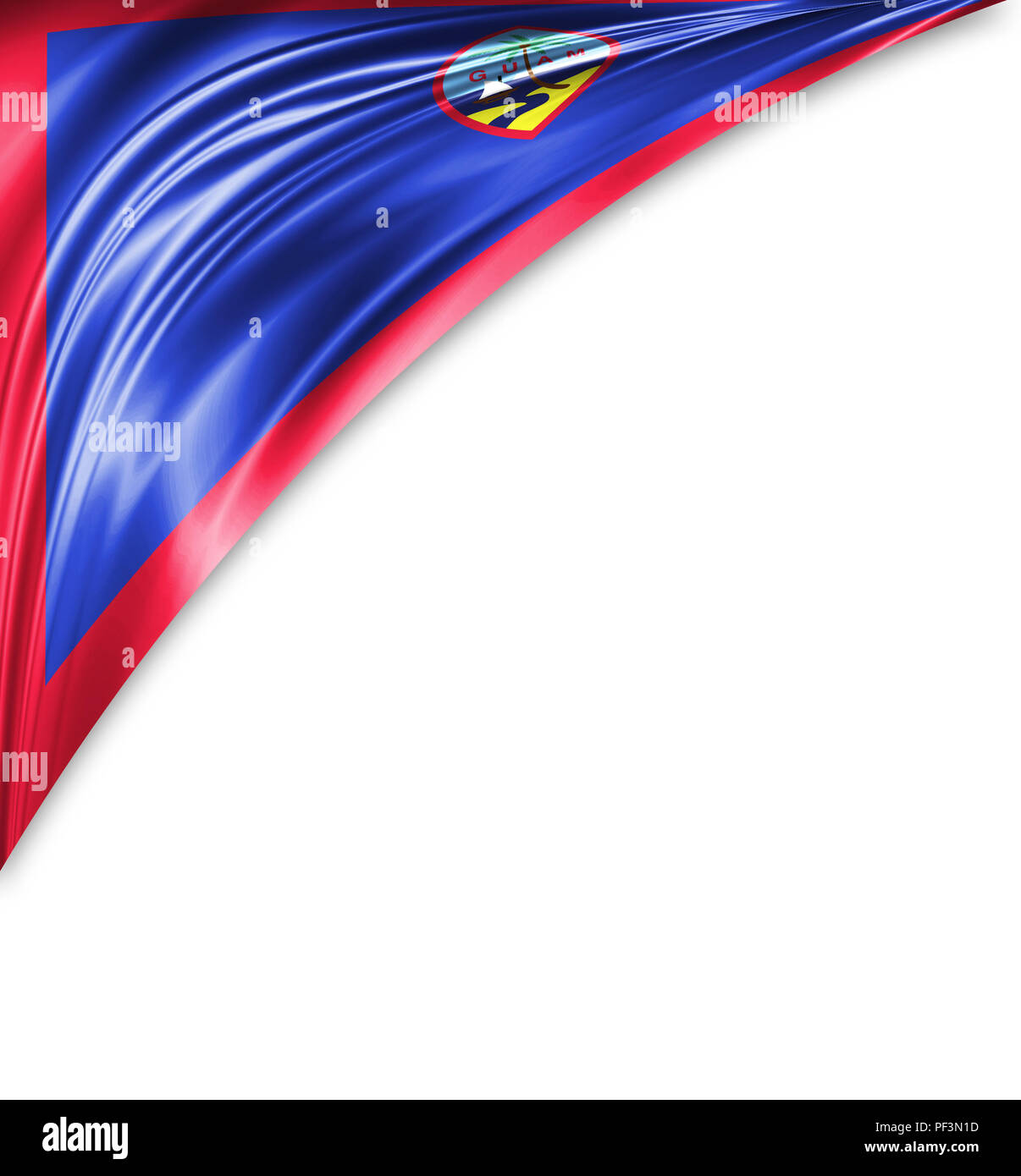 Guam flag of silk with copyspace for your text or images and white background. - Stock Image