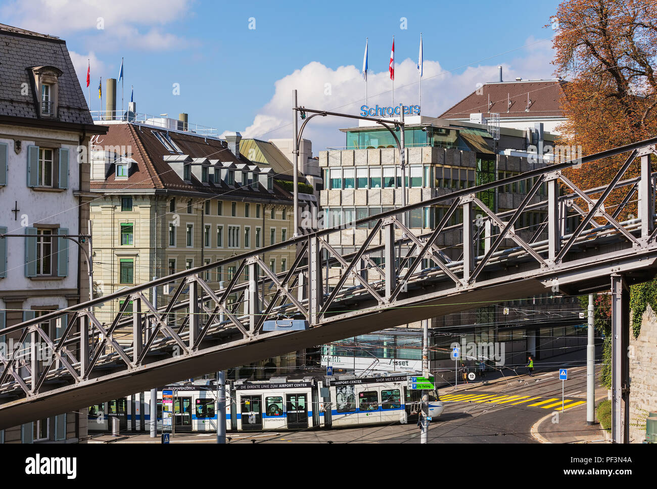 Zurich, Switzerland - September 25, 2017: the Polybahn funicular railway. The Polybahn, also known as the UBS Polybahn, is a funicular railway in the  Stock Photo