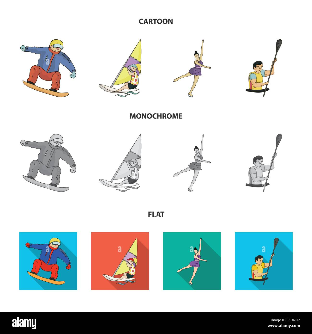 Snowboarding, sailing surfing, figure skating, kayaking. Olympic sports set collection icons in cartoon,flat,monochrome style vector symbol stock illu - Stock Vector